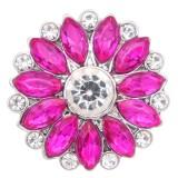 20MM цветок оснастки посеребренная с розово-красным горным хрусталем