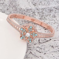 20MM Starfish snap  rose-gold plated with blue Pearl KC8058