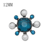 12MM design rose gold snap with Blue rhinestone and pearl KS7080-S snaps jewelry