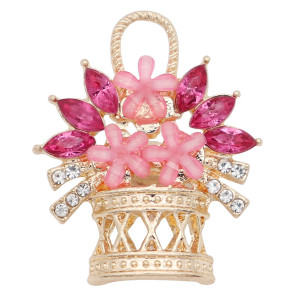 20MM a basket of flowers snap gold Plated with  rose-red Rhinestone KC9198 snaps jewelry