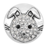 20MM Rabbit snap Plated with White rhinestone KC8047 snaps jewelry