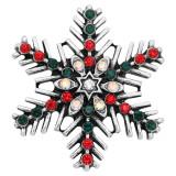 Flocon de neige de Noël 20MM argenté avec strass KC8054 s'encliquette bijoux
