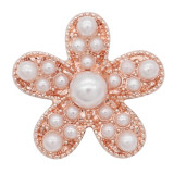 20MM Starfish snap chapado en oro rosa con White Pearl KC8059 broches de joyería