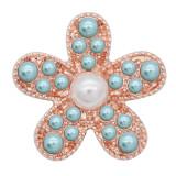 20MM Snap Starfish plaqué or rose avec perle bleue KC8058