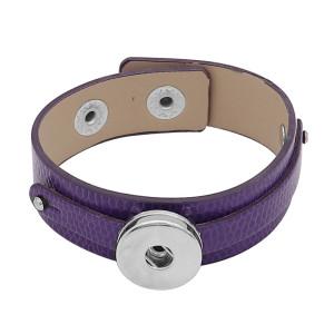 Botones 1 púrpura Cuero genuino KC0895 Las pulseras de reloj se ajustan a los trozos de broches 20MM