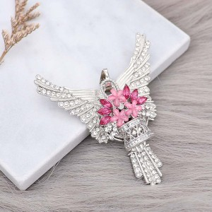 20MM a basket of flowers snap Plated with rose-red  Rhinestone  KC9197 snaps jewelry