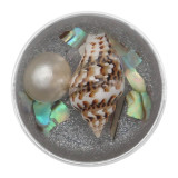 20MM conch Pearl inlay Glossy Half circle Amber snap Silver Plated with Rhinestone KC8060 Brown