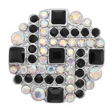 20MM composant logiciel enfichable Argent plaqué avec strass noir KC8063 s'encliquette bijoux