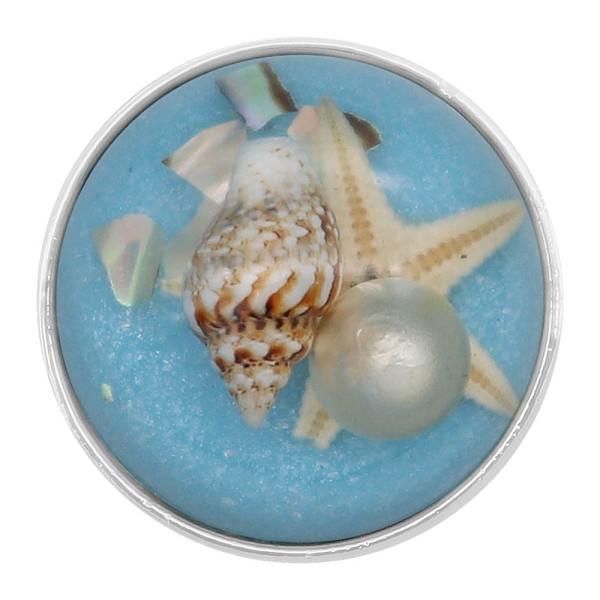 20MM conque Incrustation de perles Brillant Demi-cercle Amber snap Plaqué Argent KC8061 Cyan