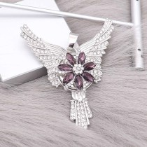 20MM  flower snap Silver Plated with purple High-quality rhinestone KC8062 snaps jewelry