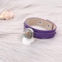 Пуговицы 1 фиолетового цвета из натуральной кожи KC0895 Браслеты с часами подходят к зажимам 20MM