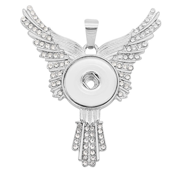Eagle wings snap sliver Pendant With white rhinestones fit 20MM snaps style jewelry KC0469