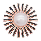 20MM Fleurs mousqueton plaqué or rose avec émail noir perle KC8049 mousquetons bijoux