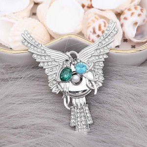 20MM Bird snap Plated with  blue rhinestone And pearls KC9201 snaps jewelry