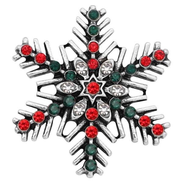 Navidad 20MM broche de copo de nieve Plateado con diamantes de imitación KC8053 broches de joyería