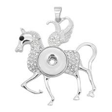 Подвеска из щелевой лошади с белыми стразами 20MM защелкивается в стиле ювелирных украшений KC0470