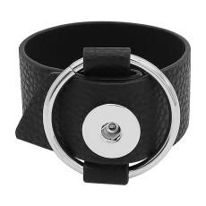 Пуговицы 1 Черные кожаные браслеты подходят к кускам 20MM