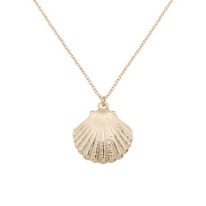 Sea Life Shell Charm Collier en métal plaqué or avec chaîne 46cm TA3115
