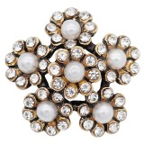 20MM pearl snap Gold Plated with white rhinestone and pearl KC9186 snaps Charms