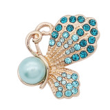 20MM  Butterfly  Gold snap Plated with Blue rhinestone Pearl  KC8046 snaps jewelry