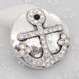 20MM Ship anchor snap charms Plated with White colorful rhinestone KC8051 snaps jewelry