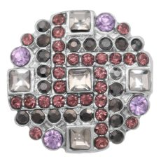 20MM  snap charms Silver Plated with purple rhinestone KC8067 snaps jewelry