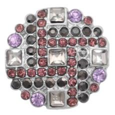 20MM snap charms Argent plaqué avec strass violet KC8067 s'enclenche bijoux