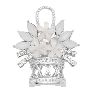 20MM a basket of flowers snap charms Plated with  white rhinestone KC9196 snaps jewelry