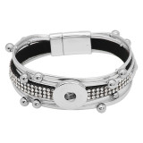 1 Knöpfe graues Leder mit weißem Strass KC0504 neuer Typ Armband passend für 20mm Druckknöpfe