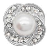 charms 20MM snap argenté avec strass blanc perle KC9213 snaps bijoux