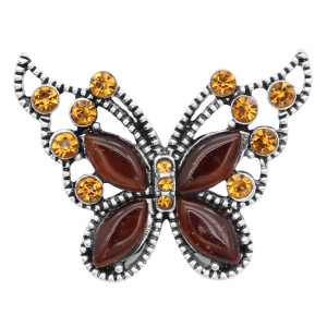 Butterfly 20MM snap charms Silver Plated with brown rhinestone  KC9209 snaps jewelry