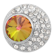 20MM design snap charms Silver Plated with opal  rhinestone  KC9203  snaps jewelry
