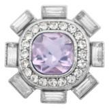 breloques conception 20MM bouton en métal argenté avec strass violet KC9215 s'enclenche bijoux