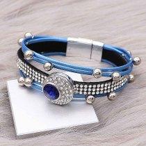 Boutons 1 Cuir bleu avec strass blanc KC0506 nouveau type Bracelet compatible 20mm enclenche des morceaux