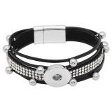 1-Knöpfe Schwarzes Leder mit weißem Strass KC0503 neuer Typ Armband für 20mm-Druckknöpfe