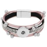 Кнопки 1 Розовая кожа с белым горным хрусталем KC0505 новый тип Подходящий браслет 20mm защелки