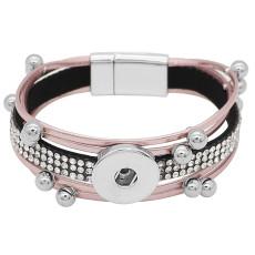 Boutons 1 Cuir rose avec strass blanc KC0505 nouveau type Bracelet compatible 20mm enclenche des morceaux