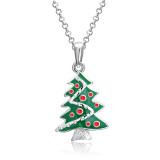 Weihnachten Emaille Weihnachtsbaum Strass Halskette
