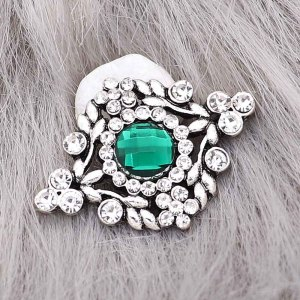 20MM  snap Silver Plated with Green rhinestone KC9217 snaps jewelry
