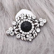 20MM  snap Silver Plated with Black rhinestone KC9218 snaps jewelry