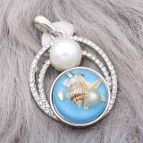 snap sliver Pendant With white rhinestones Pearl inlay fit 20MM snaps style jewelry KC0472