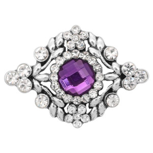 20MM  snap Silver Plated with purple rhinestone KC9216 snaps jewelry