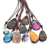 Natural Stone Necklace 10pcs/lot with 65cm Leather Chain  (Stone Color Random Delivery)