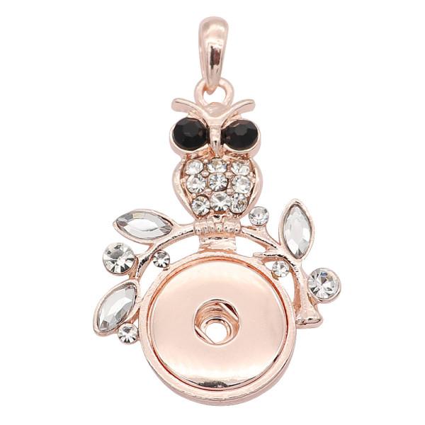 complemento Colgante de oro rosa con diamantes de imitación blancos en forma de joyería de estilo 20MM broches KC0474