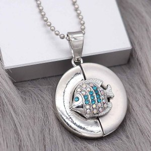 12MM design Fish metal snap with Blue rhinestone KS7086-S snaps jewelry