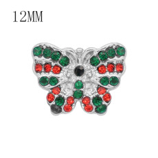 12MM  Christmas design Butterfly metal snap with Red green rhinestone KS7082-S snaps jewelry