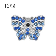 12MM design Butterfly metal snap with Blue rhinestone KS7083-S snaps jewelry