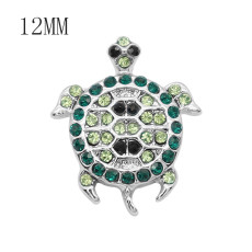 12MM design metal peacock snap with Green rhinestone KS7081-S snaps jewelry