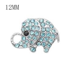 Diseño 12MM Broche de metal de elefante con diamantes de imitación azul KS7084-S broches de joyería