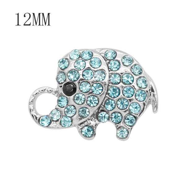 12MM design Elephant metal snap with Blue rhinestone KS7084-S snaps jewelry